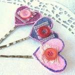 Heart Hair Pin Set - Pink and Purpl..