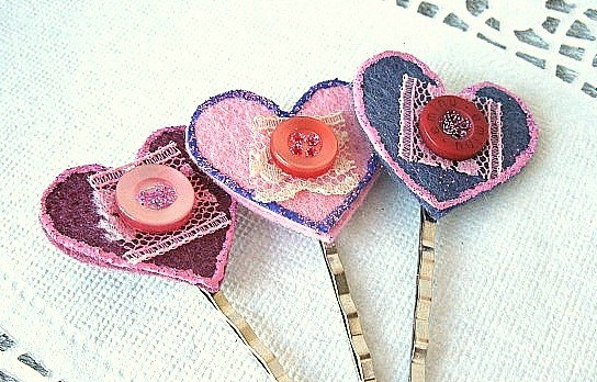 Heart Hair Pin Set - Pink and Purple - Shabby chic, Pretty, Lace, buttons, Glitter, Felt, Bobby Pins, colorful, Kawaii, Girly