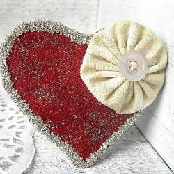 Large, Glitter, Yoyo Heart Clip - Shabby chic, shiny, Sparkly, Red, Statement Piece